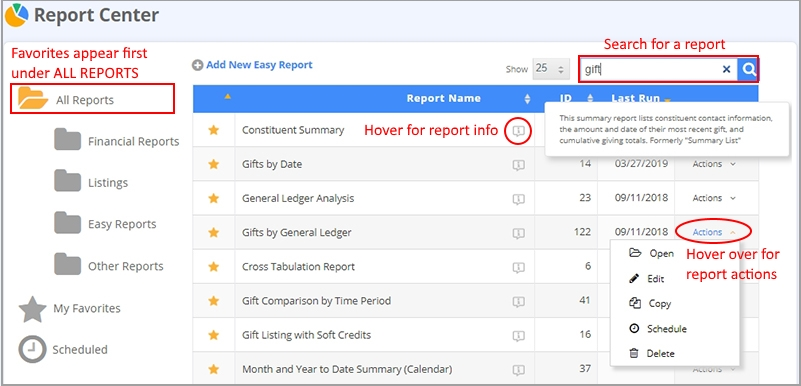 Report Center Updates
